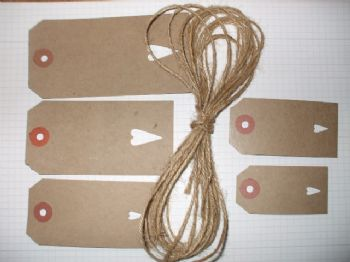 BUFF GIFT TAGS/LUGGAGE LABELS  +  JUTE TWINE